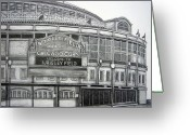Juliana Dube Drawings Greeting Cards - Wrigley Field Greeting Card by Juliana Dube