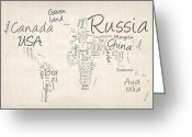 Typography Greeting Cards - Writing Text Map of the World Map Greeting Card by Michael Tompsett