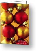 Lustrous Greeting Cards - Xmas Balls Greeting Card by Carlos Caetano