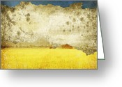 Old Wall Greeting Cards - Yellow Field On Old Grunge Paper Greeting Card by Setsiri Silapasuwanchai