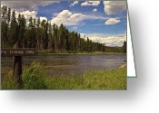 Snowy Range Greeting Cards - Yellowstone River Greeting Card by N D Finer