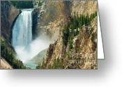 Lower Yellowstone Falls Greeting Cards - Yellowstone Waterfalls Greeting Card by Sebastian Musial