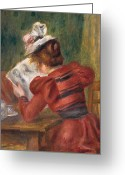 Sat Greeting Cards - Young Girl Reading Greeting Card by Pierre Auguste Renoir