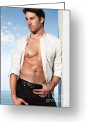 Chest Greeting Cards - Young Man in Unbuttoned Shirt Greeting Card by Oleksiy Maksymenko