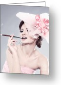Cigarette Holder Greeting Cards - Young woman with hat Greeting Card by Iryna Shpulak