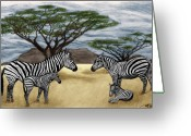 Thorn Greeting Cards - Zebra African Outback  Greeting Card by Peter Piatt