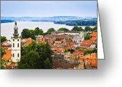 Tiled Roof Greeting Cards - Zemun rooftops in Belgrade Greeting Card by Elena Elisseeva