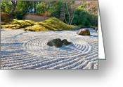 Ancient Art Greeting Cards - Zen garden at a sunny morning Greeting Card by Ulrich Schade