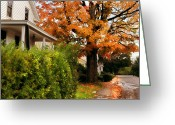 Yellow Trees Greeting Cards - Autumn Series Greeting Card by HD Connelly