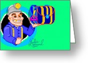 Arcade Digital Art Greeting Cards - DigItAll Treasure Greeting Card by Charles Drummond