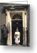 Queen Mother Elizabeth Greeting Cards - 10 Downing St. Greeting Card by Carl Purcell