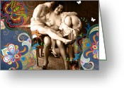 Nude Mixed Media Greeting Cards - Goddesses Greeting Card by Chris Andruskiewicz