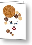 Whimsical Drawings Greeting Cards - Illustration of a woman in fashion Greeting Card by Frank Tschakert