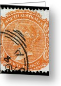 James Hill Greeting Cards - old Australian postage stamp Greeting Card by James Hill