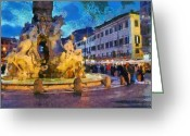 Center City Painting Greeting Cards - Piazza Navona in Rome Greeting Card by George Atsametakis