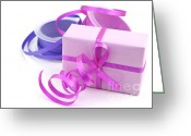 Wrapping Greeting Cards - Pink gift Greeting Card by Blink Images