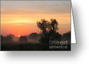 Screen Doors Greeting Cards - Sunset Greeting Card by Odon Czintos