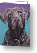 Animal Portrait Pastels Greeting Cards - 100 lbs. of Chocolate Love Greeting Card by Pat Saunders-White