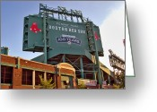 Baseball Game Greeting Cards - 100 Years at Fenway Greeting Card by Joann Vitali