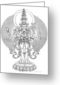 Iconography Drawings Greeting Cards - 1000-Armed Avalokiteshvara Greeting Card by Carmen Mensink