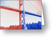 Islands Digital Art Greeting Cards - 1000 Island International Bridge 2 Greeting Card by Steve Ohlsen