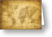 Vintage Map Digital Art Greeting Cards - 100146 Vintage Map Greeting Card by MacJac