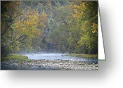 Ozarks Greeting Cards - 1010-3979 Buffalo River Boxley Valley Fall Greeting Card by Randy Forrester