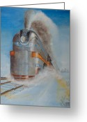 Locomotive Greeting Cards - 104 MPH in the Snow Greeting Card by Christopher Jenkins