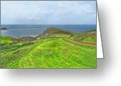 Golf Club Greeting Cards - 10th Tee at Cape Cornwall Golf Course Greeting Card by Chris Thaxter