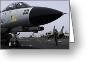 Chained Greeting Cards - An F-14d Tomcat On The Flight Deck Greeting Card by Gert Kromhout