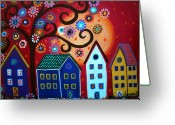 Cartera Greeting Cards - Mexican Town Greeting Card by Pristine Cartera Turkus