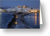Lit Greeting Cards - Naxos - Cyclades - Greece Greeting Card by Joana Kruse