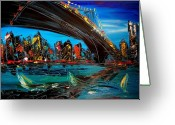 Sunset Framed Prints Painting Greeting Cards - New York Greeting Card by Mark Kazav