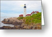 Fort Williams Park Photo Greeting Cards - Portland Head Light Greeting Card by Anne Kitzman
