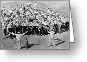 Cheerleader     Greeting Cards - Silent Film Still: Sports Greeting Card by Granger