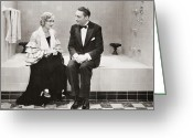 Tuxedo Greeting Cards - Silent Still: Bathing Greeting Card by Granger