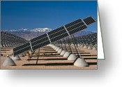 Snow Capped Greeting Cards - Solar Power Plant, Nevada, Usa Greeting Card by David Nunuk