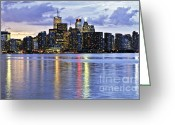 Nighttime Greeting Cards - Toronto skyline Greeting Card by Elena Elisseeva