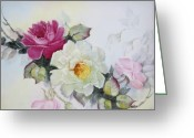 One Ceramics Greeting Cards - 1106b pink and white Roses Greeting Card by Wilma Manhardt