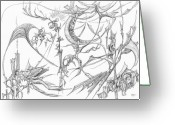 Fractal Flower Drawings Greeting Cards - 1110-1 Greeting Card by Charles Cater