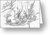 Fractal Flower Drawings Greeting Cards - 1110-2 Greeting Card by Charles Cater