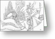 Fractal Flower Drawings Greeting Cards - 1110-6 Greeting Card by Charles Cater