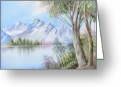 Trees Ceramics Greeting Cards - 1116b  Mountain and Lake Greeting Card by Wilma Manhardt