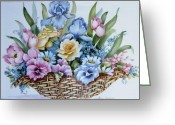 Original Ceramics Greeting Cards - 1119 b Flower Basket Greeting Card by Wilma Manhardt