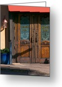 Charro Greeting Cards - 11206 The Doors of Del Charro Greeting Card by John Prichard