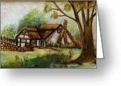 Original Ceramics Greeting Cards - 1128b Cottage Painted On Top Of Gold Greeting Card by Wilma Manhardt