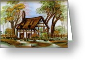 Gold Ceramics Greeting Cards - 1129b Cottage painted on top of gold Greeting Card by Wilma Manhardt