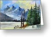 Original Ceramics Greeting Cards - 1130b Mountain Lake Scene Greeting Card by Wilma Manhardt