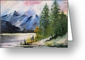 Original Ceramics Greeting Cards - 1131b Mountain Lake Scene Greeting Card by Wilma Manhardt