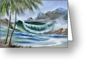 Original Ceramics Greeting Cards - 1132b Waterwave Scene Greeting Card by Wilma Manhardt
